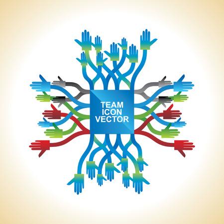 onwards: many colorful hands round of team work symbol Illustration