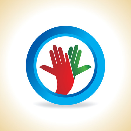 onwards: blue circle with hands
