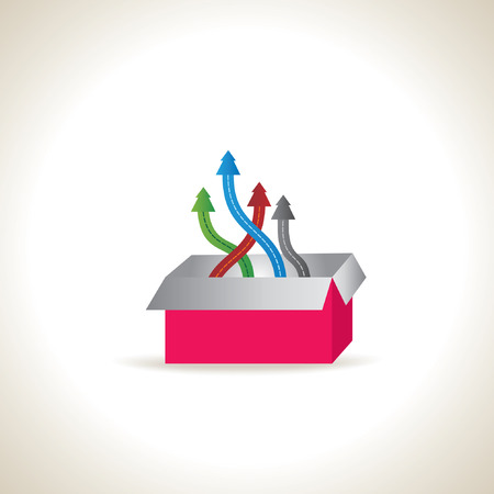 onwards: colorful arrow with box Illustration