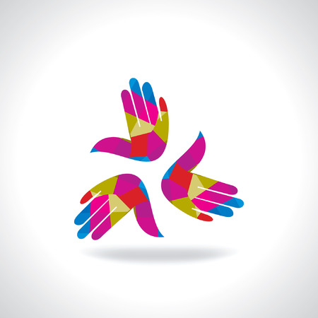 onwards: colorful hands