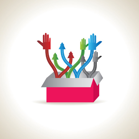 onwards: colorful hands standing in the box Illustration
