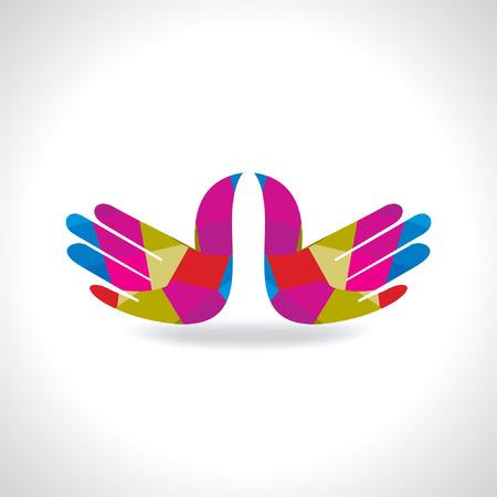 onwards: colorful hands symbol