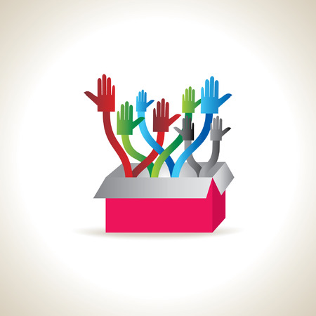 onwards: colorful standing hands with box Illustration