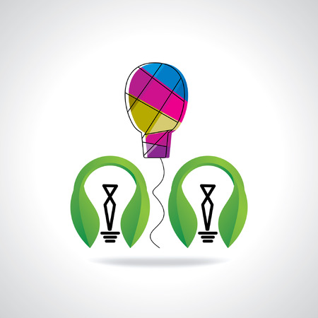 green bulb: green bulb with colorful bulb Illustration