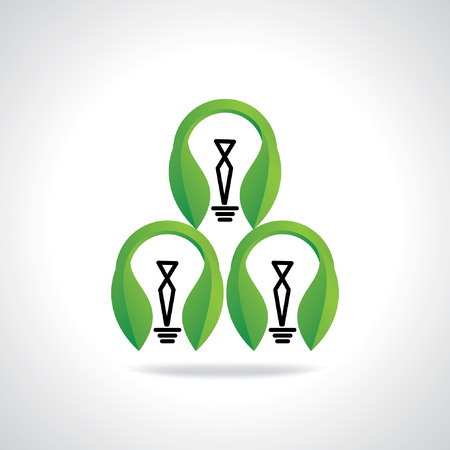 green bulb: three green bulb with leaf Illustration