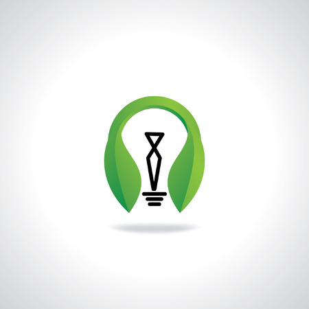 green bulb: creative green bulb with leaf