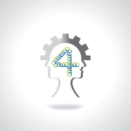 dedicate: human head in four idea concept Illustration