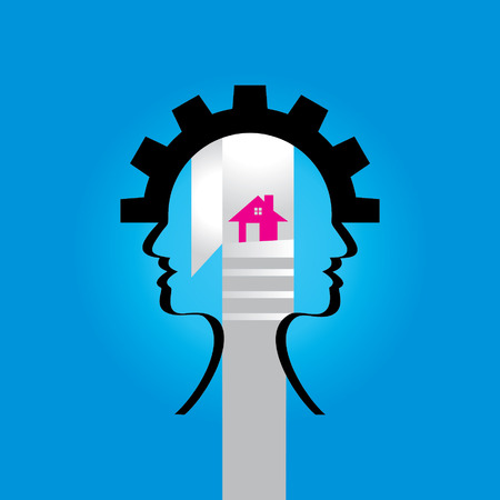 house idea: human head in house idea concept