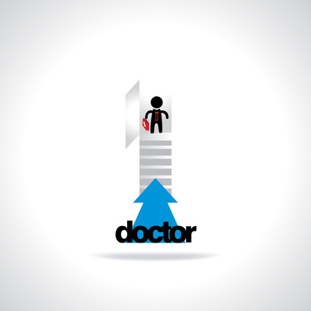 going: door with stairs doctor concept Illustration
