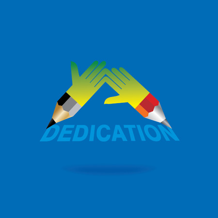 dedication: pencil with hands dedication concept blue background