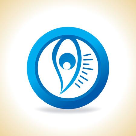 ojo azul: blue eye inside of circle