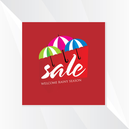 monsoon: monsoon sale with umbrella Illustration