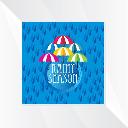 the rainy season: rainy season over blue background