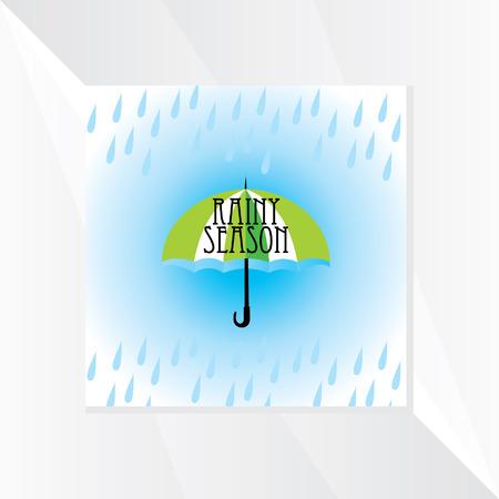 the rainy season: rainy season with umbrella Illustration