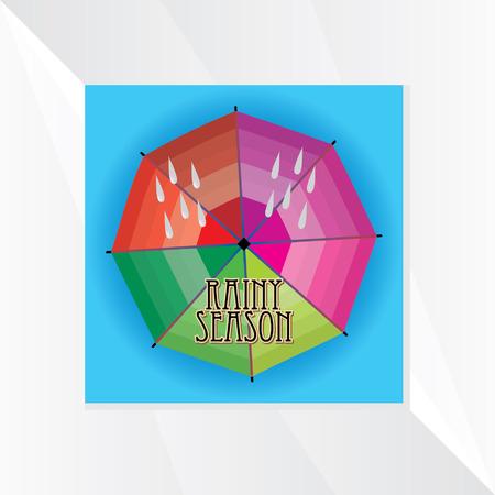 the rainy season: colorful umbrella rainy season