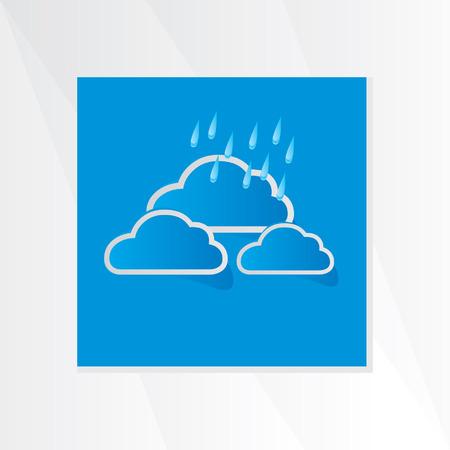 rain drop: cloud with rain drop over blue background