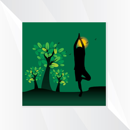 yoga outside: green background with tree pose and sun Illustration