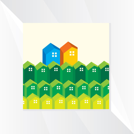 houses: many houses icon vector