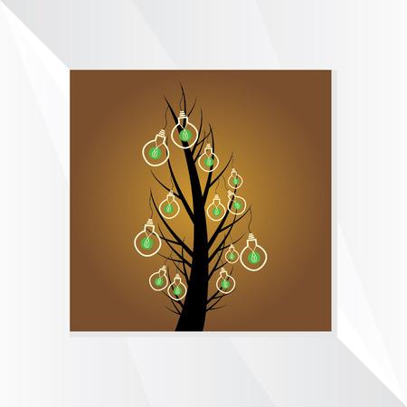 bulb on tree idea vector