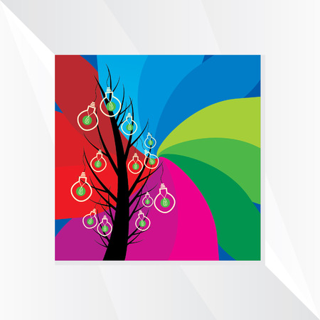 aha: bulb on tree over colorful background idea vector
