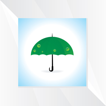moist: green umbrella with water drop Illustration