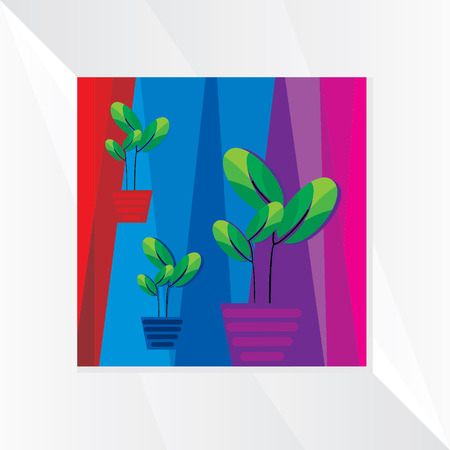 small tree: small tree pot over colorful background Illustration