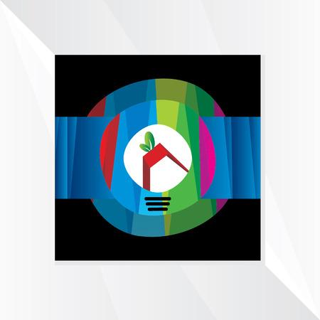 house idea: creative house idea over colorful background Illustration
