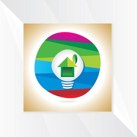 house idea: creative house idea with bulb over colorful vector