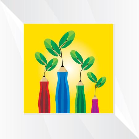 small tree: creative many pencil with small tree vector