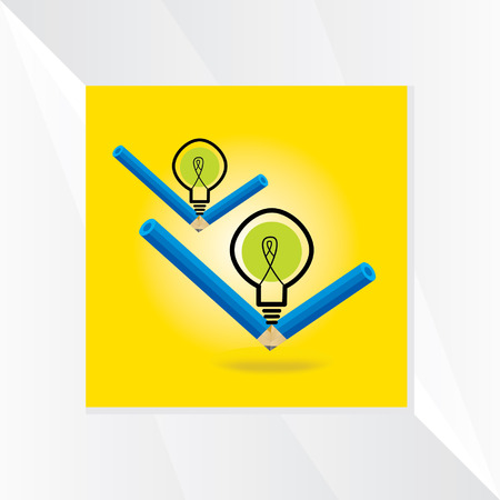 writ: pencil idea with bulb