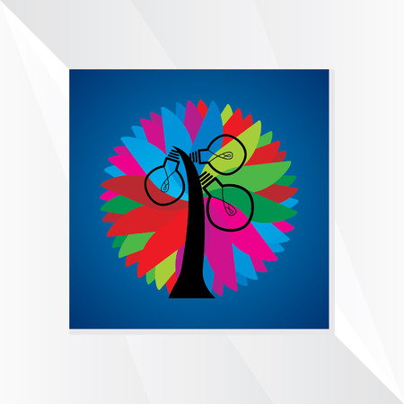 aha: idea tree over colorful background