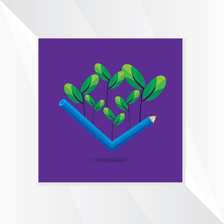 small tree: pencil with small tree vector Illustration