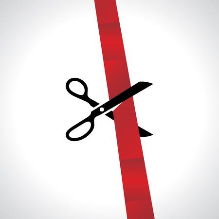 inauguration: inauguration scissor vector with ribbon Illustration