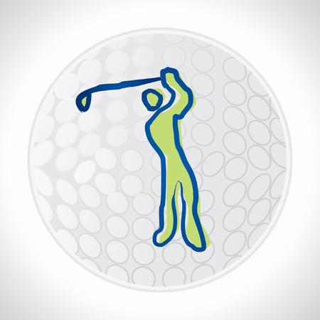 golf stick: bola de palo de golf con el jugador Vectores