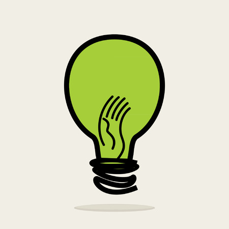 green bulb: green bulb with hand vector