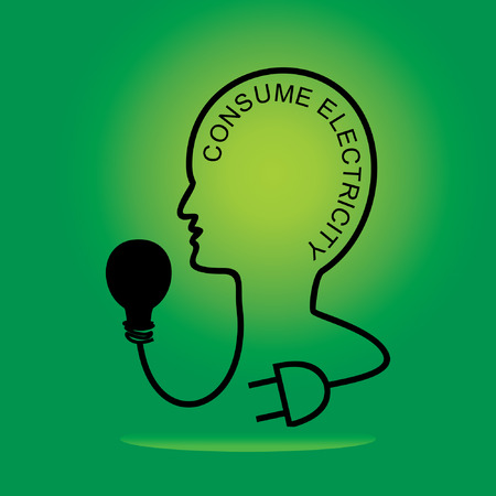 human head connect bulb and electric pin Illustration