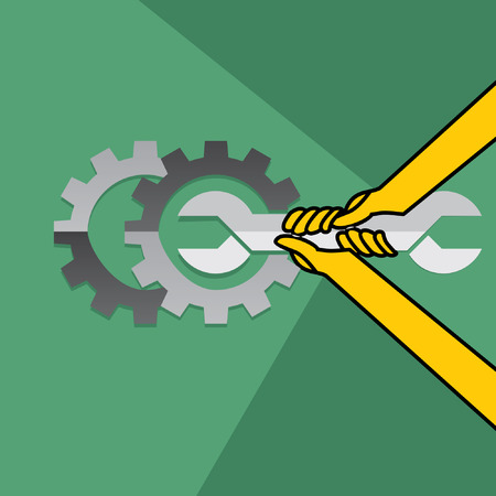 best security: spanner in hand inside of engg wheel Illustration