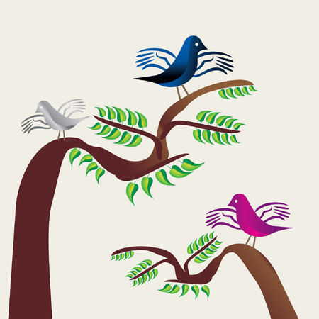 nature backgrounds: brids seating on tree