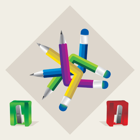 sharpen: colorful pencils with sharpen