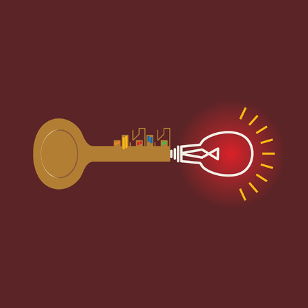 habitable: golden key connecting bulb idea concept