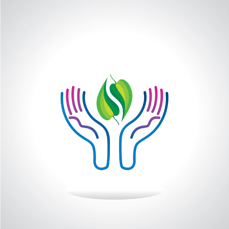 save the environment: green leaf in hand save environment Illustration