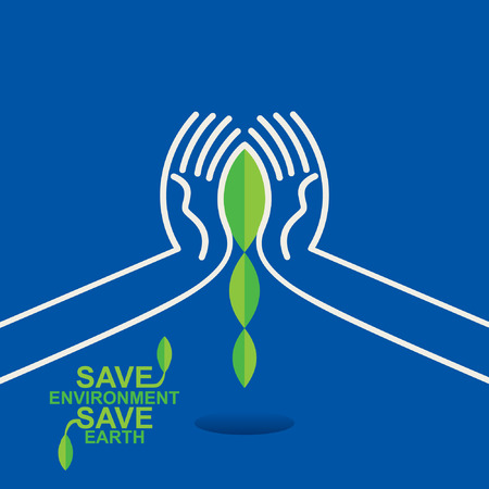 save the environment: leaf safe in hand save environment vector