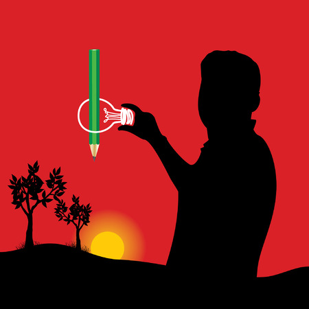 peoples: pencil in bulb of peoples hands Illustration