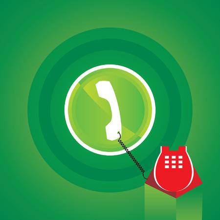 telephone: telephone icon green background Illustration