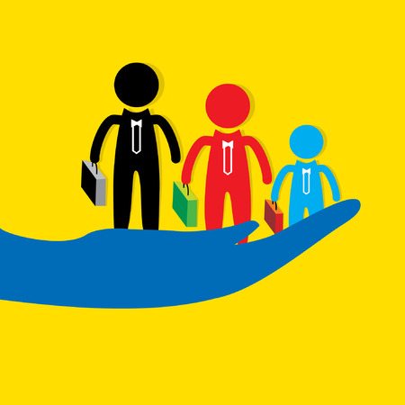 peoples: three peoples in hand Illustration
