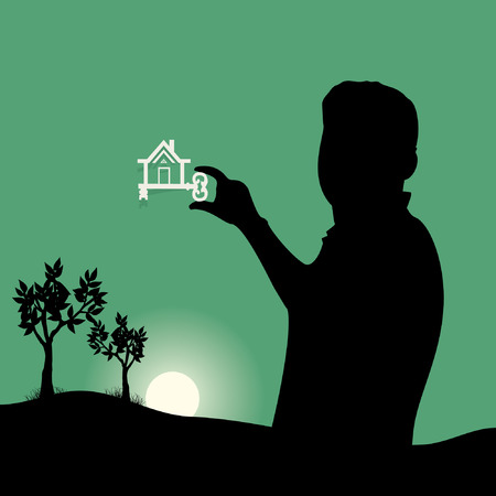 peoples: dream home with key in peoples hand