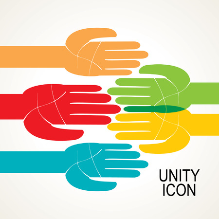 team concept: colorful hands icon of unity team concept