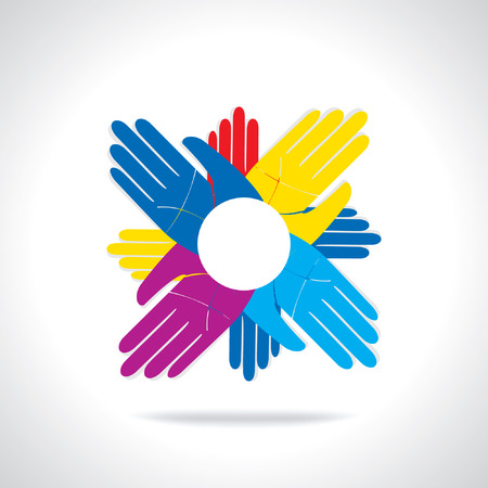 team concept: colorful hands team work concept icon