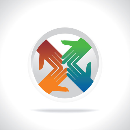 four hands: four hands connect with together team symbol Illustration