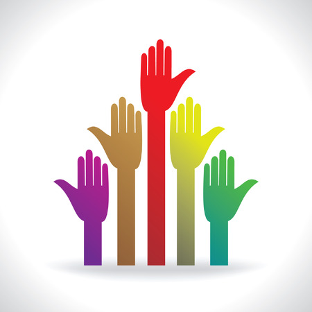 human rights: many hands colorful human rights concept